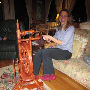 Kromski wheel happiness!  Actually, she was thrilled how much we all liked her amazing knit socks!
