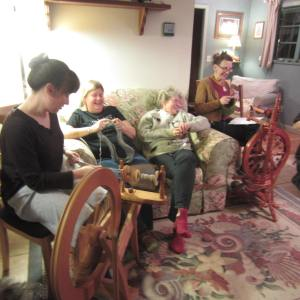 A few of the seaside cottage gals knitting & spinning