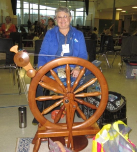 Terry Yocums lovely Magnus Drudik wheel, on which she doubtless churns out enough yarn to test every one of Dave's bowls!